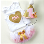 Pink and Gold Glitter First Birthday Outfit for Baby Girl Party Hat Bloomers