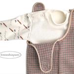 ROMPER & long sleeve onesie Set, Herringbone houndstooth, Baby Boy 3-6m