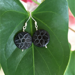 Carved Black Shell Lotus Earrings
