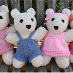 Snuggly Teddy Bear softies, hand knitted. Child, baby, baby shower gift.