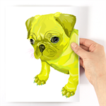 A4 Neon Pug Geometric Animal Print - Original Drawing