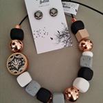 Damask Necklace - Black/RoseGold/Grey/White