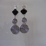 Black Swarovski Crystal & Silver Charm Earrings