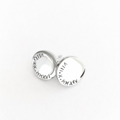 Silver Studs, Hand Stamped Earrings, Roman Numerals Gift, Mothers Day