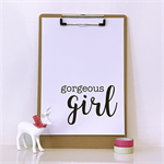Monochrome Gorgeous Girl A4 Print Wall Art Nursery