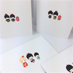 Handcrafted gift card - girls in kimono