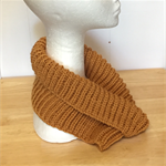 Neck warmer, Cowl, Adult, Teen, Child Hand-Knit, Wool,  GoldMustard Yellow Brown