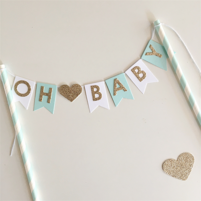 Bunting Cake Topper Oh Baby Baby Shower Pastel Mint