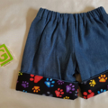Little Hipster Shorts, with cuff. Cuff in black with colourful paw prints