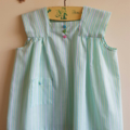 Simple striped box dress with bullion flowers and butterfly.  Size 12 months