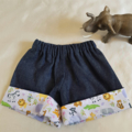 Little Hipster Shorts with cuff. Cuff - lavender animal character. Size 3 mths
