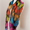 Nuno felted Merino Silk scarf wrap by plumfish black and brights silk merino sca