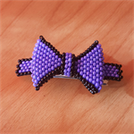 Black & Purple Bow Hair Clip