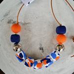 Colour Splat Necklace - Navy/Blue/Orange