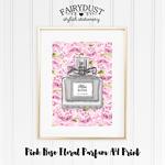Pink Rose Floral Parfum A4 Print