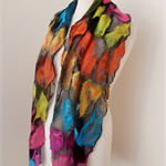 Nuno felted Merino Silk scarf wrap by plumfish black and brights silk merino sca