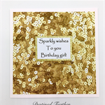 Happy Birthday Card, Girl, Child, Teenager, Kids, Women, Sparkle, Sequins, Gold