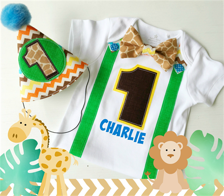 Jungle Safari Theme 1st Birthday Outfit for Boys First Birthday