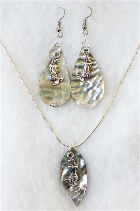 Mermaid earring and necklace gift set