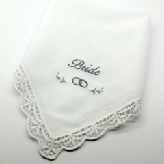Bride Embroidered on a White Wedding Handkerchief with Lace Edge, Bridal Hanky