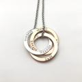Personalised Hand Stamped Triple Russian Rings Necklace in Silver Gold,Rose Gold