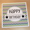 Male Happy Birthday card - squares
