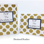 """POP The Bubbly!"", Congratulations Card, Polkadots, Gold, Glitter, Humour, Funny"