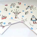 SALE Set of 4 cards - Robots