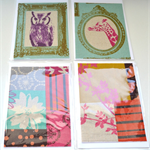 SALE Set of 4 cards - Japanese Fabrics