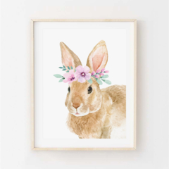 Julia Rabbit - Children's art. Floral Bunny. A4 Print