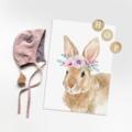 Julia Rabbit - Children's art. Floral Bunny. A4 Print