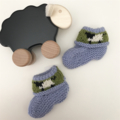"Light Blue ""Sheep""  Booties - Hand knitted in Pure Wool"
