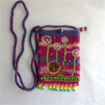 Unique embellished felt cross body pouch with snail and dandelion motif. One of