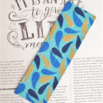 Fabric Bookmark, Blue and Gold Droplets