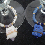 Maneki Neko glass tags for the Bride and Groom