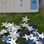 250 Kraft, Blue and Ivory Stars ~ Star Confetti ~ Star Scatters ~ Baby Showers