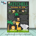 JUNGLE Themed 1st Birthday Milestone Keepsake Print DIGITAL PDF