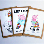 Greeting Cards Thank you Friendship Birthday for Knitters and Sewers  Pack of 3