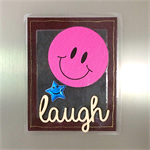 'Laugh' Pink Smiley Face and Blue Star on Brown Leather Look Fridge Magnet