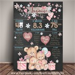 TEDDY Themed 1st Birthday Milestone Keepsake Print DIGITAL PDF
