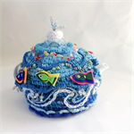 Unique ocean themed embellished 4-6 cup tea cosy.