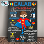 SUPERHERO Themed 1st Birthday Milestone Keepsake Print DIGITAL PDF