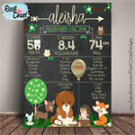 WOODLAND Themed 1st Birthday Milestone Keepsake Print DIGITAL PDF