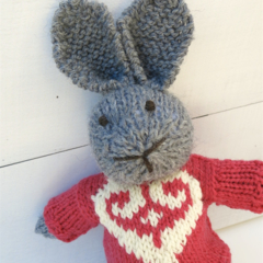 Mia the Grey Knitted Bunny Rabbit Toy with Raspberry Pink Heart Jumper