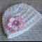 White Crochet Newborn Baby Beanie with Flower
