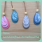 Triple leaves polymer clay pendant in bluestone, pink, taupe or soft green