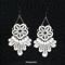 Off white lace earrings, unique pretty, elegant design.