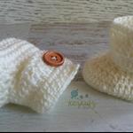 Cream Crochet Baby Booties