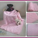 Pink Hand Crocheted Diamond Baby Blanket