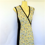 Ladies 16 to 18 Wrap Dress -retro yellow, blue & brown floral, flower daisy